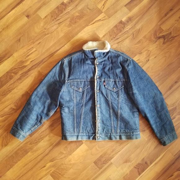 LEVI'S Sherpa Lined Blue Jean Denim Trucker Jacket